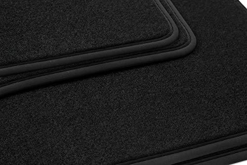 teileplus24 NL-136 Alfombrillas para Audi A4 B5 8D Alfombrillas para Coche de Primera Calidad 4 Piezas Nubuck Costura Decorativa, Bordes:Negro