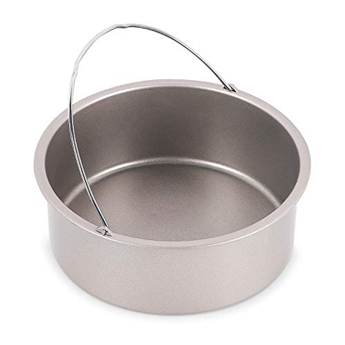 Esjay Round Cake Pan for Instant Pot, 7 Inch Deep Baking Pan with Handles for Ninja Foodi (Champagne Gold)