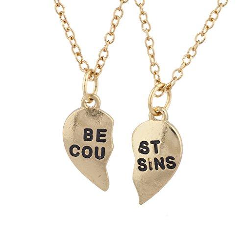 LUX ACCESSORIES Goldtone Best Cousins Broken Heart Charm Necklace Set (2pc)