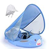 HECCEI Mambobaby Baby Shark Swim Float with Canopy Solid Pool Infant Swim Trainer Swimming Training Lying Air Free Water Floats Non-Inflatable Waist Swim Ring for Toddlers (3-24 Months)