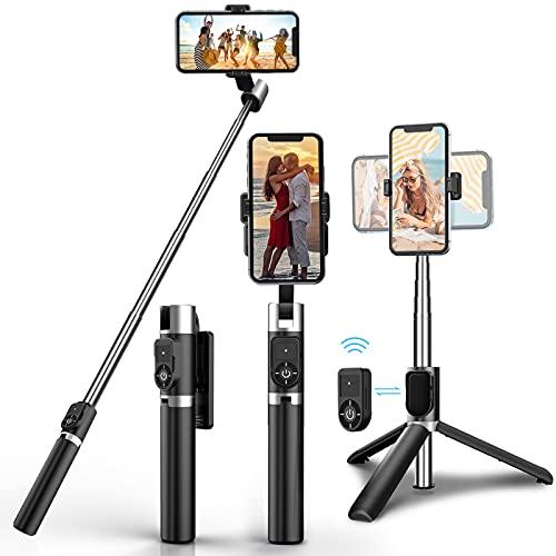 Palo selfie, trípode para selfie con Bluetooth, giratorio 3 en 1, 360 °, minivestible, de aluminio, compatible con iPhone 12 Pro Max, 11 Pro Max, Samsung S20 Plus, Huawei, etc.