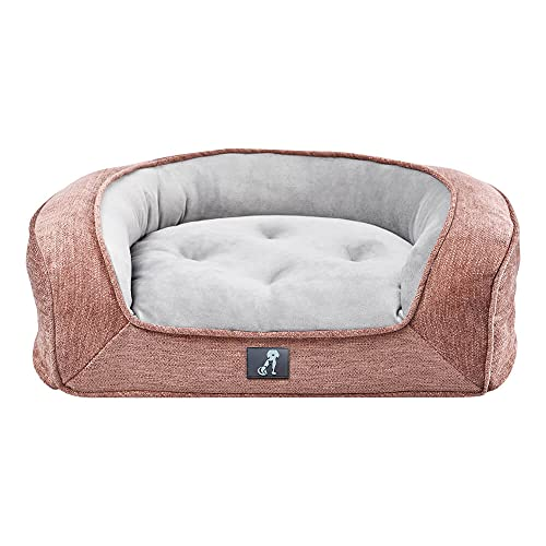 AllPetSolutions Duke Dog Bed Luxury Memory Foam Orthopaedic Washable Large Pink Dog Sofa Bed - 88 x 70 x 22cm - with Removable Cover & Non Slip Bottom