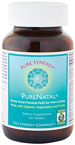 Pure Synergy PureNatal Prenatal 120 Vegetable Tablets - Whole Food Multi for Mother & Baby - Dietary Supplement - Gluten Free - Dairy Free - Additive Free - Non GMO