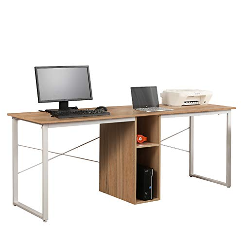 Soges 2-Person Home Office Desk,78 inches Large Size Workstation, Writing Desk with Self, HZ011-200-OKX