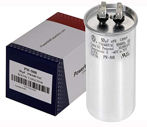 PowerWell 50 MFD uf Motor Run Round Capacitor 370 V VAC or 440 Volt 50 Micro Farad PW-50/R - Guaranteed to Last 5 Years