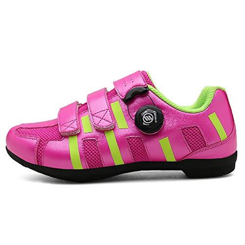FYRS Fahrradschuhe, harte Unterseite, Mountainbike-Schuhe, Sportschuhe, atmungsaktiv und verschleißfest, einfache Montage, Unisex, Pink, 39