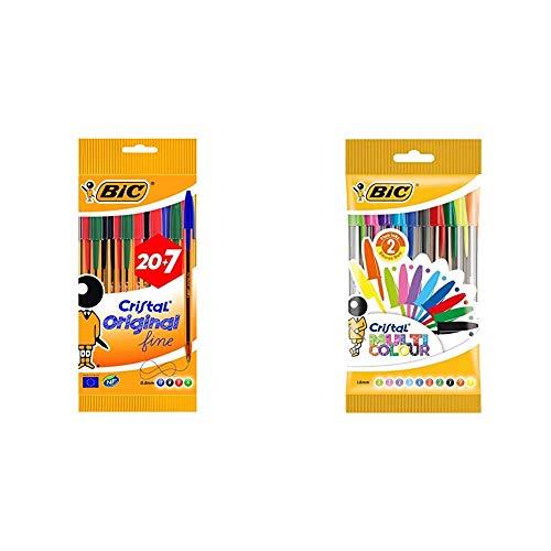 BIC Cristal Original Fine bolígrafos punta fina (0,8 mm) colores Surtidos, Caja de 20+7 unidades + Cristal Multicolour bolígrafos Punta Ancha (1,6 mm) – colores Surtidos, Blíster de 10 unidades