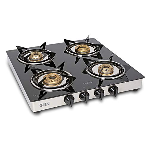 Glen 4 Burner LPG Gas Stove with SS Drip Tray (CT4B50SSBB Cooktop,...