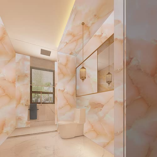 Rose Blush Marble Contact Paper Real Marble Effect 17.7'x118' Self-Adhesive Removable Peel and Stick Wallpaper Countertop Furniture Shelf Liner Granite Decorative Film