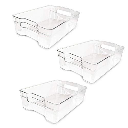 Kurtzy Ordungs Schubladen (3 Pack) - (32.5 x 22 x 9cm) Stapelbare Kühlschrank Aufbewahrungsschubladen mit Handgriff- Platzsparer Kühlschrank Gefrierschrank Aufbewahrungsboxen für Gemüse und Früchte