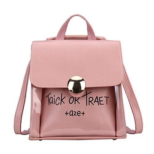 School Bags For Women Laptop, Fashion Lady Large Capacity Transparent Student Bag Shoulder Bag + Clutch