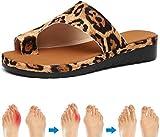 Frauen Bequeme Plattform Sandale Schuhe Sommer Flip Flop Flats Strand Reiseschuhe PU Leder Casual Feet Corrector Sandalen für Dating Shopping Weiche Sandale Gold 39-40_Leopard Improve