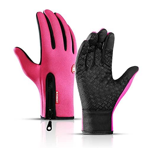 Guantes de Ciclismo de Invierno Bicicleta Pantalla táctil cálida Guantes de Dedo Completo Impermeable Bicicleta al Aire Libre Esquí Montar en Motocicleta-Pink-5-XL