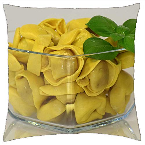 LESGAULEST Throw Pillow Cover (24x24 inch) - Noodles Tortellini Pasta Carbohydrates Lunch Italy