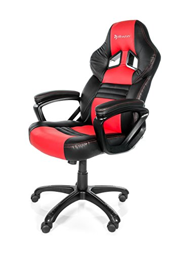 Arozzi Monza Series Gaming Racing Style Swivel Chair, Red/Black