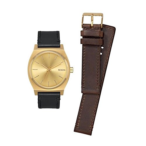 Nixon - Time Teller 37mm Geschenkpaket All Gold/Black/Brown - Armbanduhr Unisex
