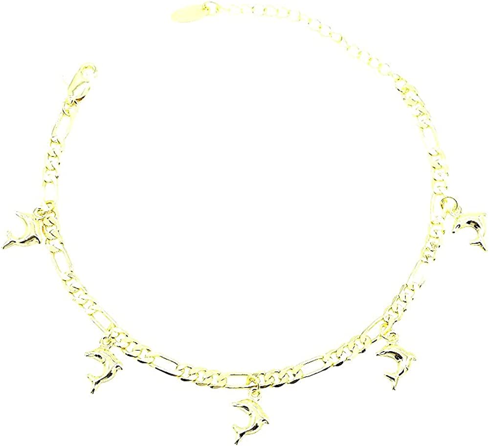 Women's Girls Layered Real Gold Plated Dolphins Anklet Bracelet 10