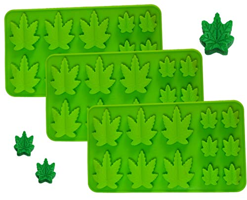 SET OF 3 X Silicone Lollipop Brownies Hard Candy Cannabis Weed Edible leaf Mold Ice Cube Marijuana Chocolate Soap Candle Tray Party maker (3x Marijuana Mold Green)
