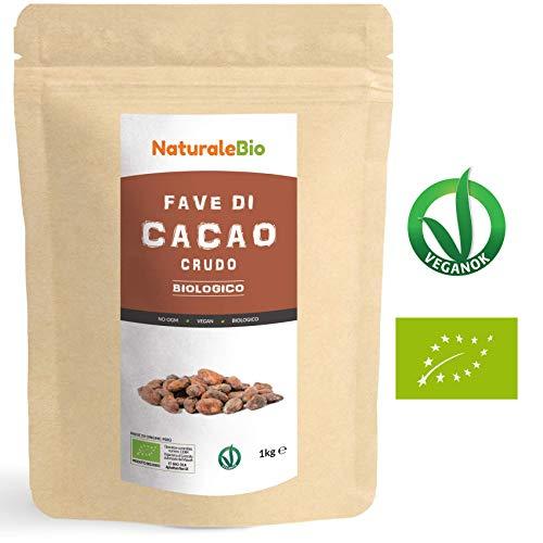 Fave di Cacao Crudo Biologico da 1kg. 100% Bio, Naturale e Puro. Prodotto in Perù dalla Pianta Theobroma Cacao. Superfood Ricco di Antiossidanti, Minerali e Vitamine. NaturaleBio