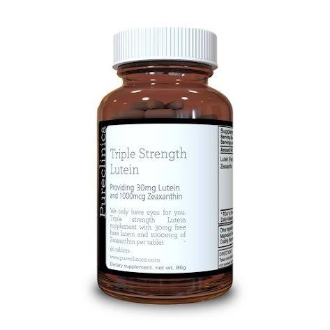 Pureclinica Luteína 30 mg x 90 Comprimidos. Con 1000mcg Zeaxantina Por Comprimido. 3 X La Fuerza de Tabletas Regulares Luteína. SKU: LU3