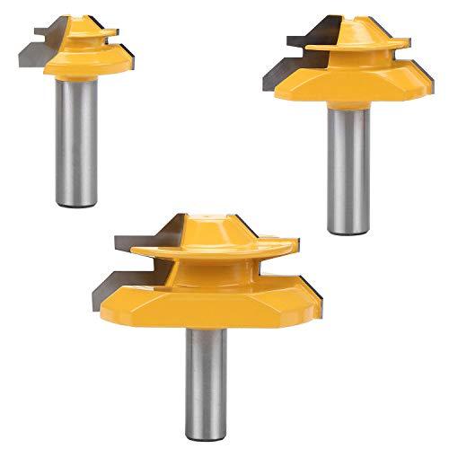 WiMas 3PCS 45 Grad Fräser Lock Miter Router Bit, 1/2 Zoll Schaft Gemeinsame Fräser, Verleimfräser Gehrung Fräser