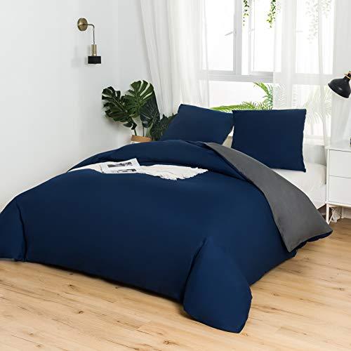 MOHAP Housse de Couette Réversible 220x240 / 65x65x2 CM Bleu + Gris Foncé Parure de Lit Bicolore 2 Personnes avec Fermeture Éclair
