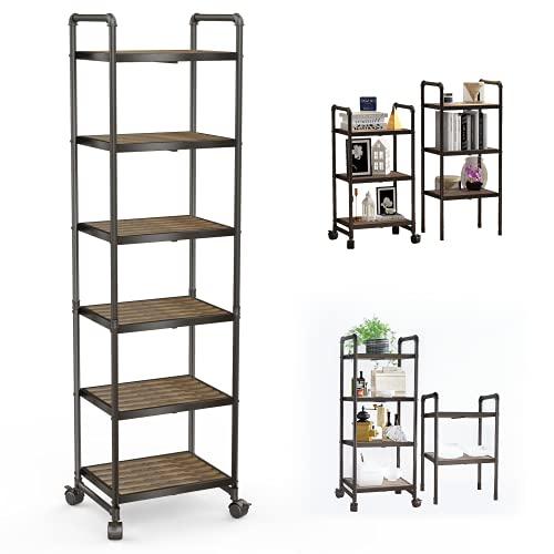 Hooseng 6-Tier Shelves Rolling Storage Cart, DIY Storage Rack with Steel Water Pipes and Adjustable Shelves, Wood Bookshelf for Living Room, Bathroom, Kitchen, Balcony