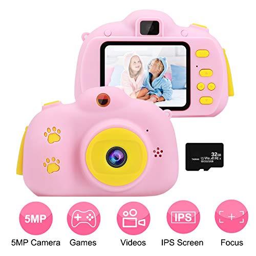 OCDAY Kinder Kamera, Digital Fotokamera Selfie und Videokamera mit / 2.4 Inch Bildschirm/ 1080P HD/ 32G TF Karte, Geburtstagsgeschenk für Kinder Jungen und Mädchen(Rosa)