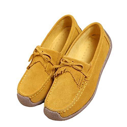 Zapatos de tacón Alto Elegantes con borlas para Mujer Primavera Otoño Zapatos de Trabajo con Punta Redonda y Cuero Suave Duradero para Caminar por la Calle