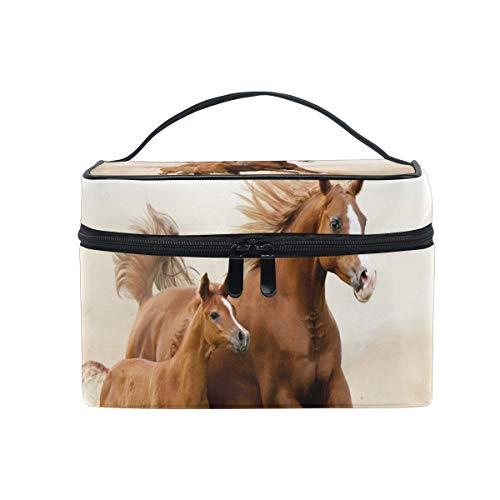 Sac cosmétique de maquillage mère et fils cheval courant stockage portable avec fermeture à glissière