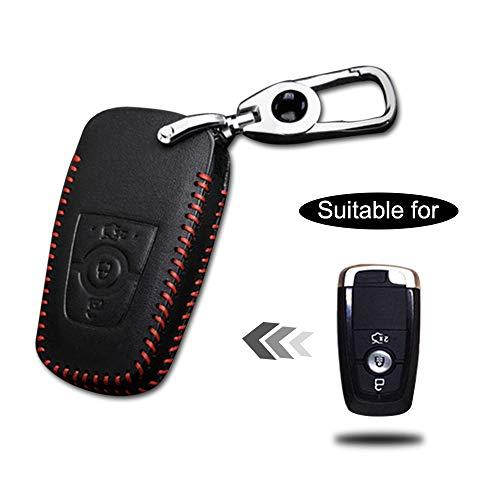 Schlüssel Hülle Leder Auto Schlüsseltasche mit schlüsselanhänger für 3-Tasten Keyless Go Fernbedienung Autoschlüssel Rotes Nähen 1 Stück Modell H