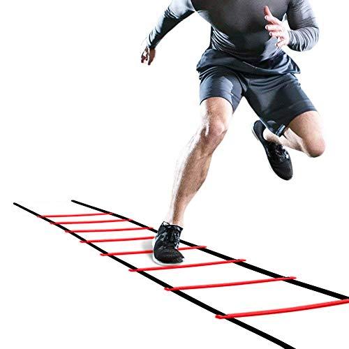 Rehomy Escalera de Agilidad Escalera de 5 M Flexibilidad de Fútbol Kit de Entrenamiento de Velocidad Escalera de Salto de Fitness para Niños Adultos (Rojo)