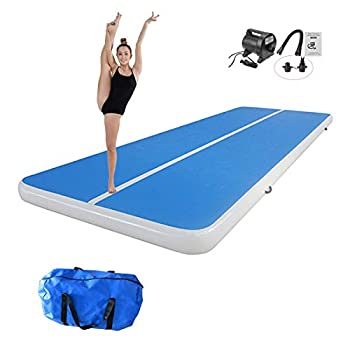INFUNTABLE Inflatable Gymnastic Air Tumbling Practice Track Floor 10ft 13ft 16ft 20ft Exercise Mat With Pump 8In Thickness For Outdoor Yoga Training Cheerleading Beach Home Use  P2-Blue 20ft x 6ft x 8in  6mx1.8mx0.2m
