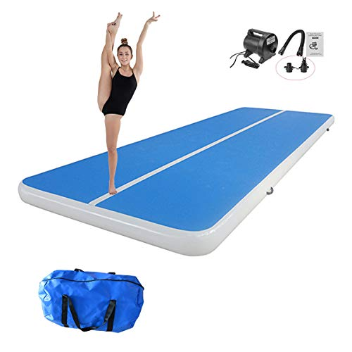 INFUNTABLE Inflatable Gymnastic Air Tumbling Practice Track Floor 10ft 13ft 16ft 20ft Exercise Mat With Pump 8In Thickness For Outdoor Yoga Training Cheerleading Beach Home Use (P2-Blue, 20ft x 6ft x 8in (6mx1.8mx0.2m))