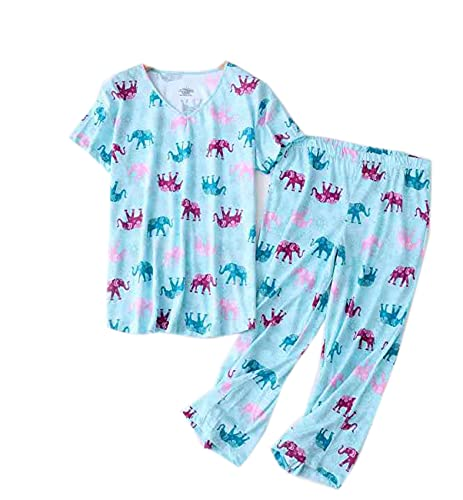 Pijamas De Verano para Mujer, De Manga Corta, Delgados, Trajes De Servicio A Domicilio, Traje De Pijama De Cuello Redondo Lindo Y Fresco