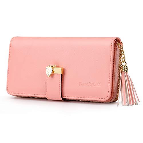 Pomelo Best Damen Geldbörse einfarbiges Portmonee mit 12 Kartenfächer und Kleingeldfach (Rosa)