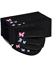 50Pcs Black Butterfly Pattern Print Adults' Disposable_Face_Masks with Elastic Earloops and Nose Clip 3 Layer Face Protection Against Droplet Anti-Particle and Dust Breathable Mouth Cover (C)