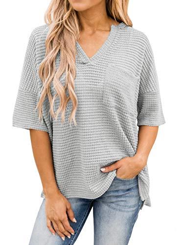 MEROKEETY Women's Short Sleeve V Neck T Shirt Top Waffle Knit High Low Casual Pocket Tunic, LightGrey, M