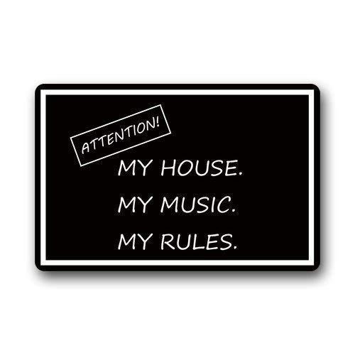 """Lesley Coleridge - Felpudos decorativos de franela con citas divertidas, diseño de texto en inglés """"Attention My House My Music My Rules"""", 45,7 x 76,2 cm"""