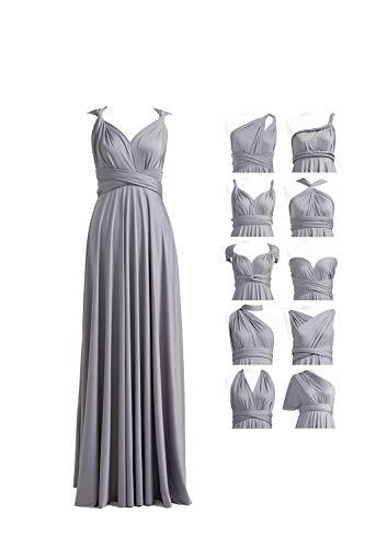 Bridesmaid Dresses for Women, Convertible Sleeve V-Neck Floor Length Prom Wrap Maxi Convertible Long Dress Grey
