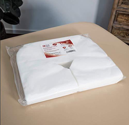 Zen Premium Einweg-Auflagen für die Kopfstütze von Massage-Liegen- 41 cm x 31 cm, 100 Stück Nasenschlitz-Tücher aus weichem Vlies, ideal als Massagezubehör für alle Kosmetik-Tische und Therapie-Bänke