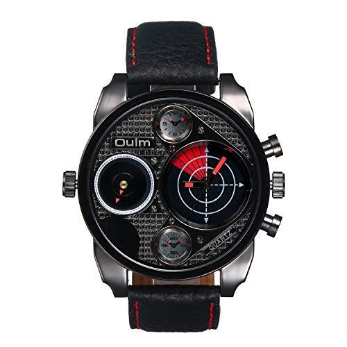 Avaner Punk - Reloj de pulsera para hombre con esfera horaria doble, correa de piel, analógico, cuarzo, con brújula decorativa y esferas termómetros