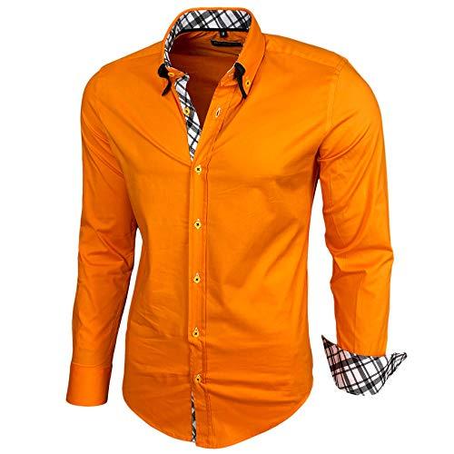 Baxboy Herren Hemd Karohemd Kariert Hemden Freizeit Business Party Bügelleicht Button-down Shirt B-507, Farbe:Orange, Größe:L