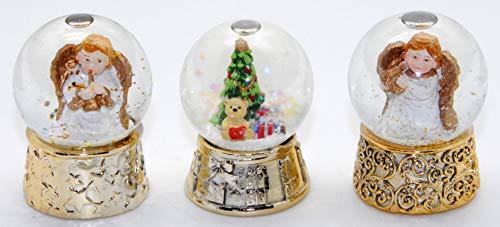 2-90-77-96x 3er Set süße Mini-Schneekugeln Nostalgie mit Gold-Sockel, Engel & Weihnachtsbaum Durchmesser 45mm mit Luftblase
