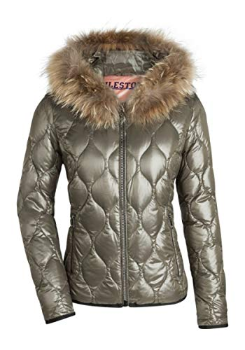 MILESTONE Romy Damen Daunenjacke Steppjacke Winter Jacke Khaki Grün Schwarz mit Fell Kapuze Gefüttert Leicht Stepp Muster Wärmeisolierung Gr. (44, Khaki)