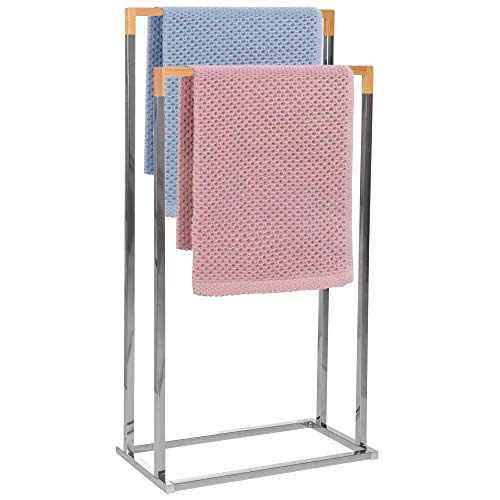 SPRINGOS Toallero de pie con 2 barras para toallas, para baño, accesorio de baño, para ropa, metal, bambú (color acero inoxidable), 2 barras de toalla