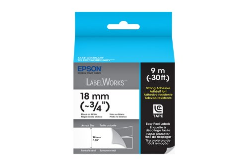 Epson LabelWorks Strong Adhesive LC Tape Cartridge ~3/4-Inch Black on White (LC-5WBW9)