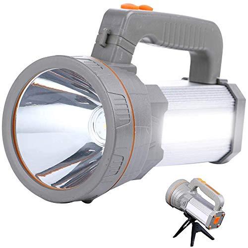 Potente linterna recargable LED AF-WAN, portátil, para hacer búsqueda, linterna superbrillante, 9000 mAh y 7000 lúmenes, impermeable, foco reflector lateral, linterna con USB que carga el teléfono