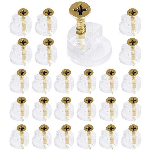 150 Piezas Clip para Espejo Abrazadera de Cristal para Baño, Soporte de Estante de Clip de Vidrio de Sujeción de Plástico con Tornillos, para Puerta de Armario Hoteles (C)