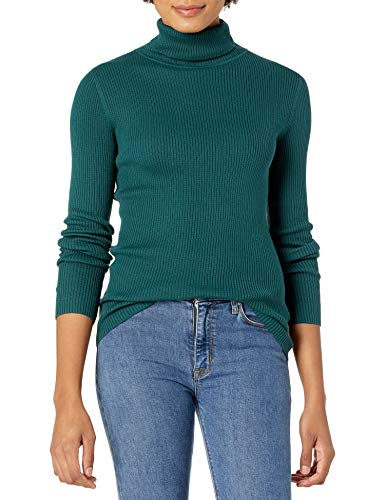Amazon Essentials Women's Slim-Fit Lightweight Long-Sleeve Turtleneck Sweater, Forest Green, Large
